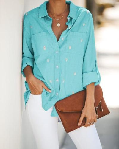Spot Dot Printed Long Sleeve Blouse Casual Shirt