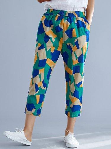 Plus Size Women Vintage Square Floral Casual Pants