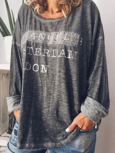 Plus Size Casual Crew Neck Long Sleeve Printed Tops