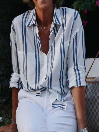 Blue Stripe Long Sleeve Casual Shirts & Tops