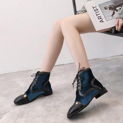 Winter Rivet Lace-Up Chunky Heel Suede Boots