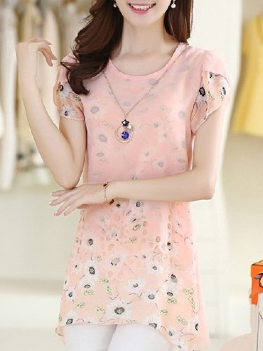 Short Sleeve Crew Neck Chiffon Printed Casual Plus Size Blouse