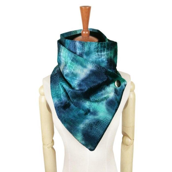 Women Fashion Button Gradient Tie Dye Rainbow Scarf