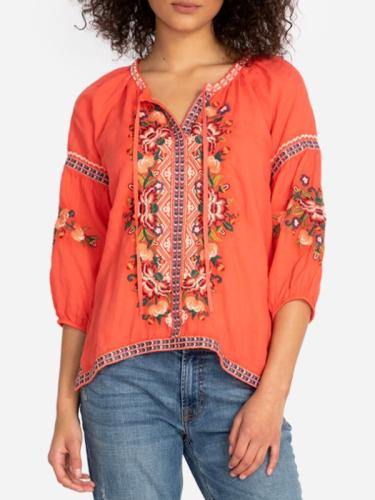 3/4 Sleeve V Neck Floral-print Shirts & Tops