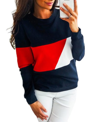 Casual Polyester Color-block Solid Sweatshirt