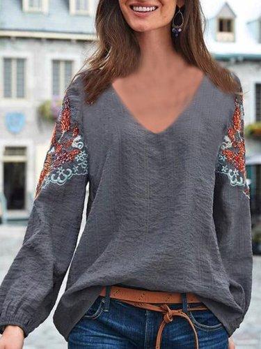 V Neck Printed Cotton-Blend Elegant Shirts & Tops