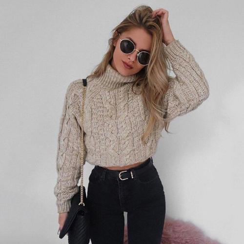 New Fashion Women Winter High Collar Sexy Umbilical Twist Sweater Casual Knitted Solid Color Pullover Winter Long Sleeve