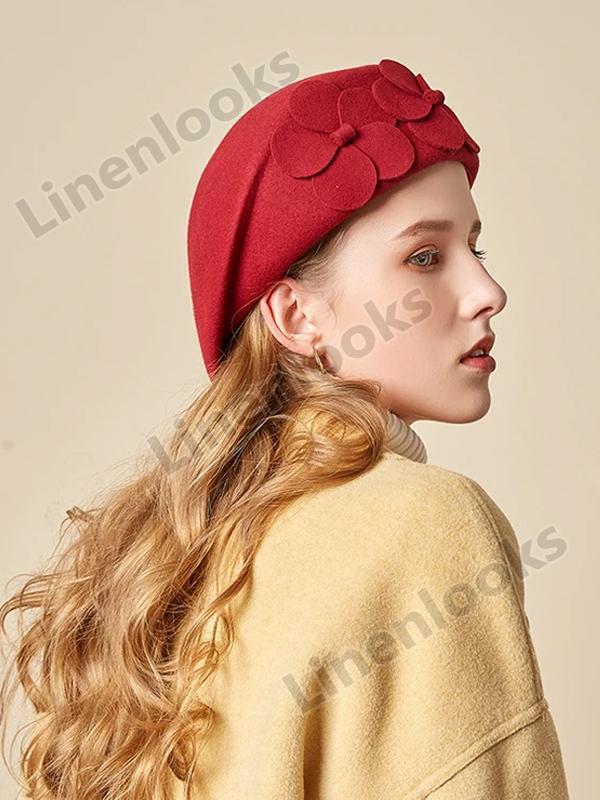 Fleece Felt Hat Dome Fashion Hat Flower Beret