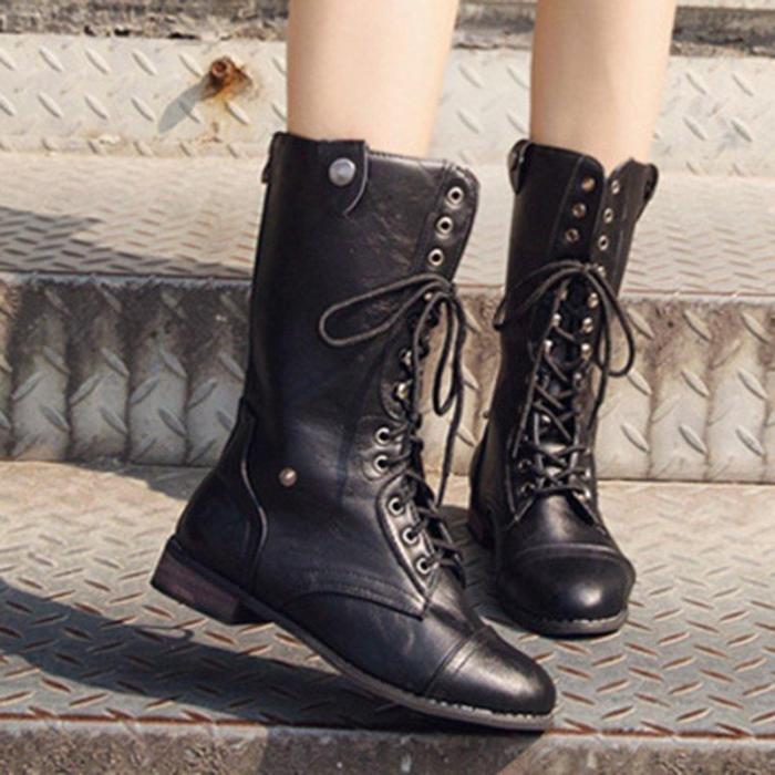 Women Vintage Booties Casual Lace Up Plus Size Shoes
