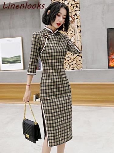 Modern Cotton Plaid Cheongsam Dress