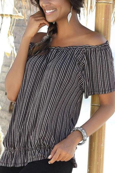 Off Shoulder Casual Stripe T-shirt