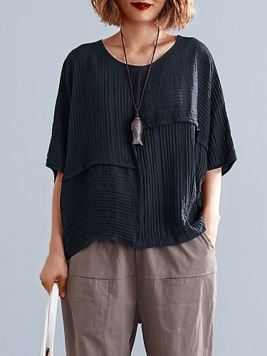 Plus Size Women Solid Half Sleeve Round Neck Loose Casual Tops