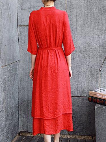 V neck Women Casual Dress Shift Daily Linen Paneled Dress
