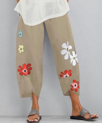 Casual Elastic Waist Long Pantalon Women's Harem Pants Print Trousers