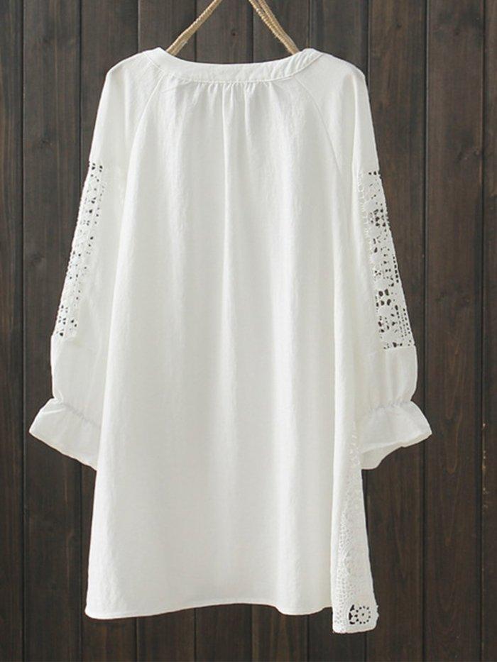 Cotton-Blend 3/4 Sleeve V Neck Solid Shirts & Tops