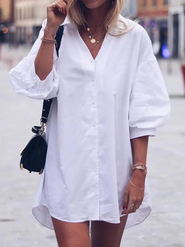Lantern Sleeve Solid Button Down Shirts