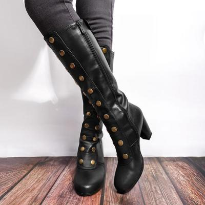 Women Vintage Artificial Leather Boots Retro Cosplay High Martin Boots