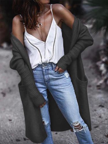 Fashion Cotton Pure Colour Patch Pocket Cardigan