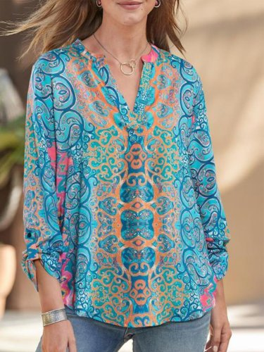 Blue Long Sleeve Cotton Shirts & Tops