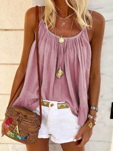 Sexy Scoop Neckline Sleeveless Shirts & Tops