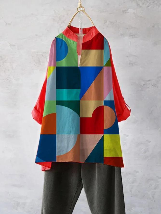 Color Geometric Casual Cotton-Blend Shirts & Tops