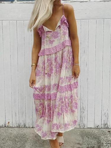 V Neck Purple Women Dresses Swing Printed Floral Dresses