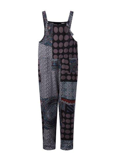 Pockets Casual Patchwork Plus Size Jumpsuit