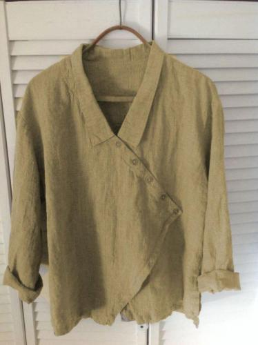 Long Sleeve V Neck Linen Causal Tops