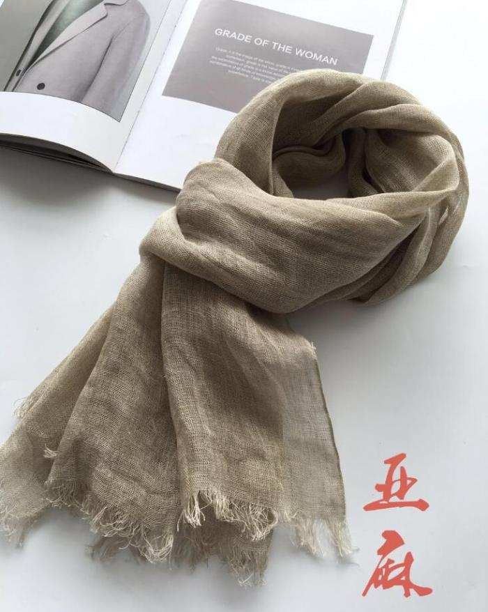 65x173cm New Design Luxury Brand Nature Color Real Linen Autumn And Winter Scarf Women Elegant Shawl Long And Widen Soft Wrap