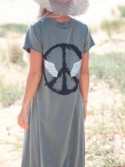 Gray Short Sleeve V Neck Dresses