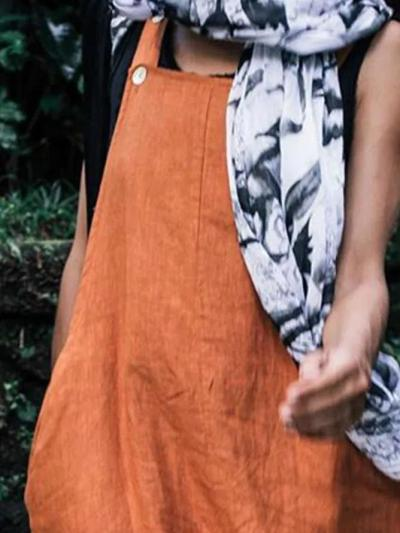 Orange Sleeveless Linen One-Pieces