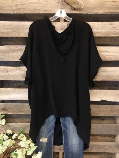 V Neck Plain Shift Short Sleeve Shirts & Tops