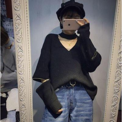 US WEAR Women Autumn Winter Pullovers Sweaters Choker Rose Embroidered Zippered Sleeve Sweater