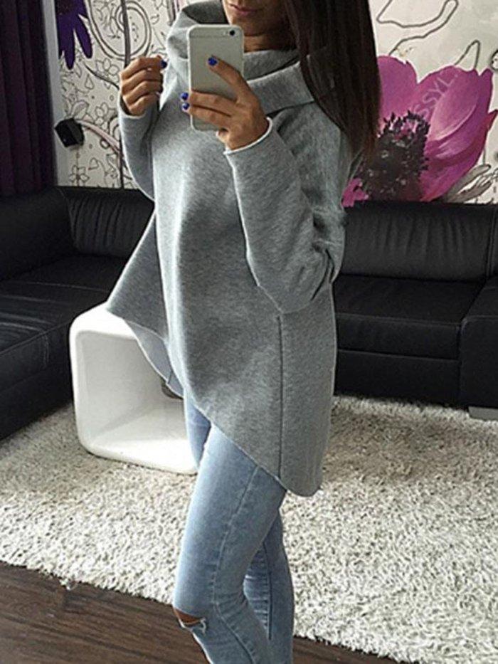 Solid Cotton-blend Casual Cowl Neck Sweatshirt