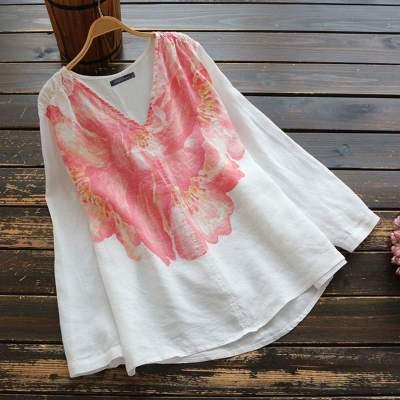 Bohemian Long Sleeve Shirt Autumn Floral Printed Tunic Tops Loose Casaul Blouse