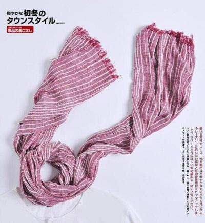 Winter Scarf Warm Soft Tassel Gray Plaid Woven Wrinkled Cotton Scarves