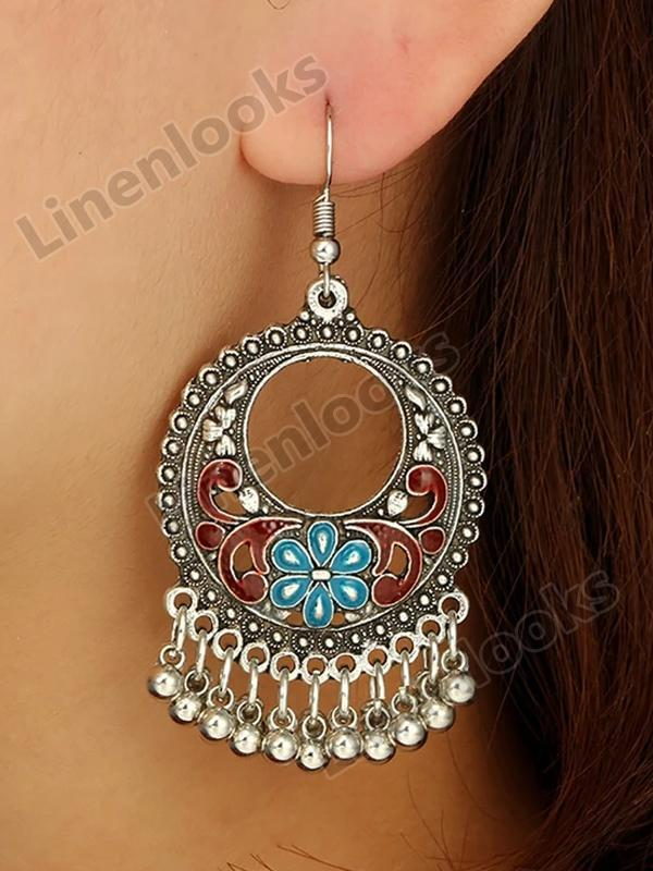 Women Earrings Vintage Jewelries Round Bells Tassel Gorgeous Earring