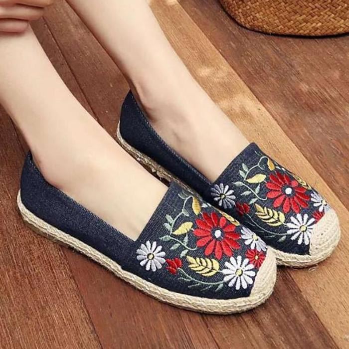 Women Floral Embroidered Loafers Casual Comfort Slip On Shoes