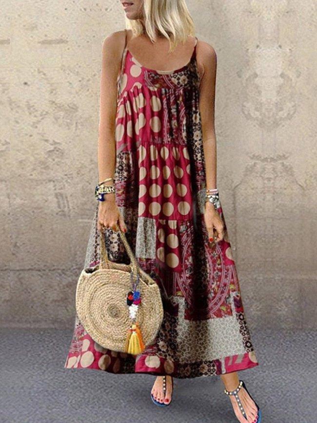 Women Dresses Shift Daytime Casual Printed Maxi Dresses