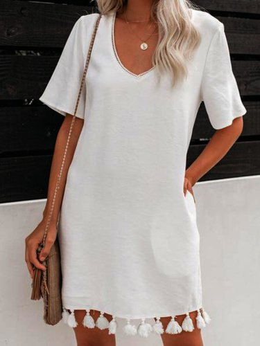 Plain Short Sleeve Dresses