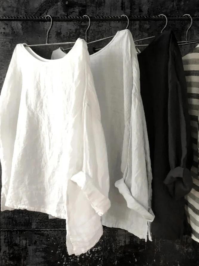 Crew Neck Linen Long Sleeve Shirts & Tops