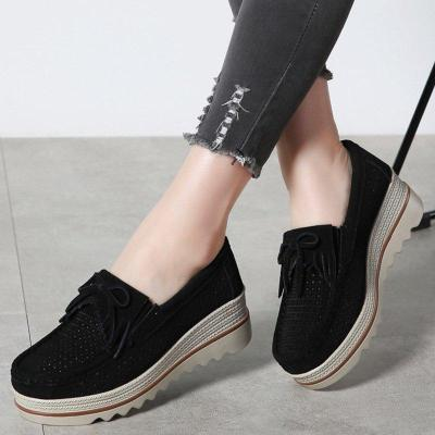 Women Artificial Nubuck Wedge Loafers Casual Comfort Slip On Shoes