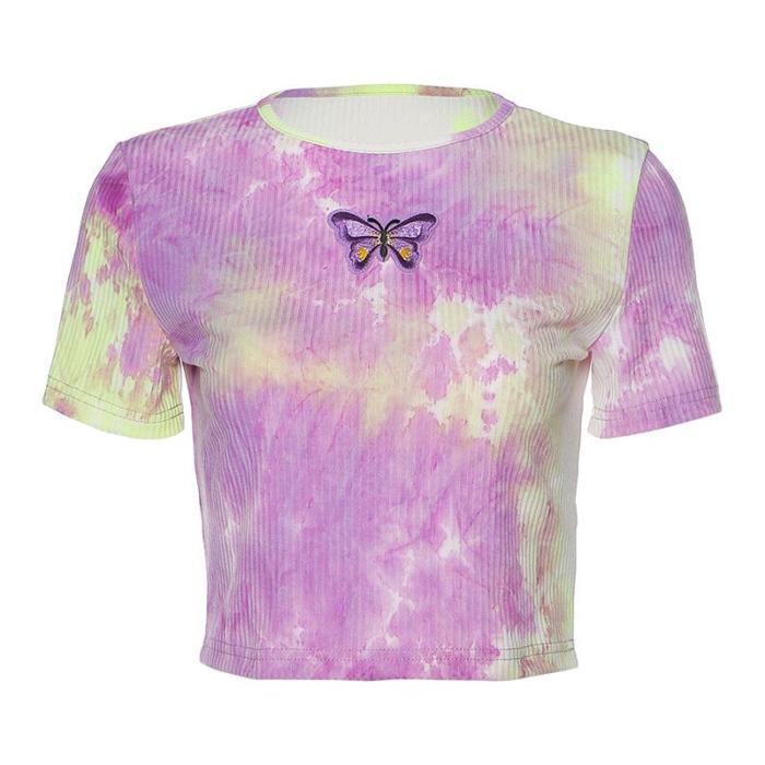 Women Butterfly Embroidery T-shirts Short Sleeve Summer Slim Crop Top