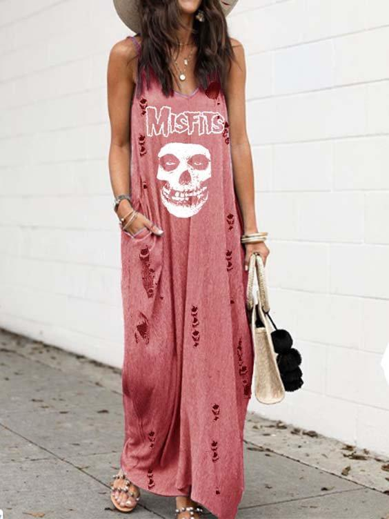 Sleeveless Cotton V Neck Dresses