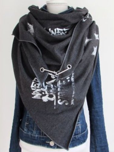 Deep Gray Cotton-Blend Printed Scarves & Shawls