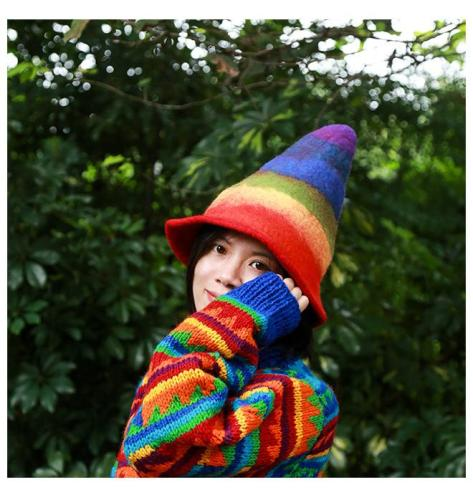 pointed wool hat handmade wool felt rainbow wizard felt hat
