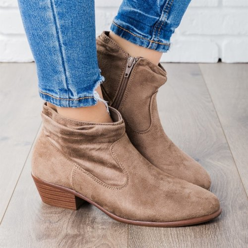 Women Low Heel Ankle Booties Comfort Plus Size