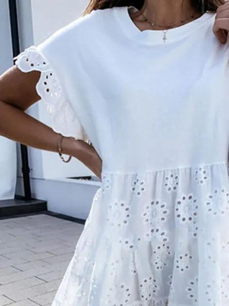 White Cotton Crew Neck Short Sleeve Dresses