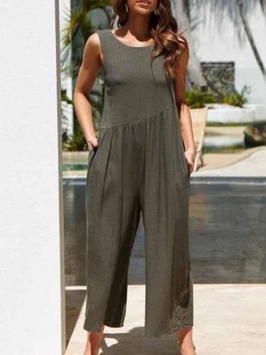 Fashion Pure Colour Sleeveless Vest Jumpsuits