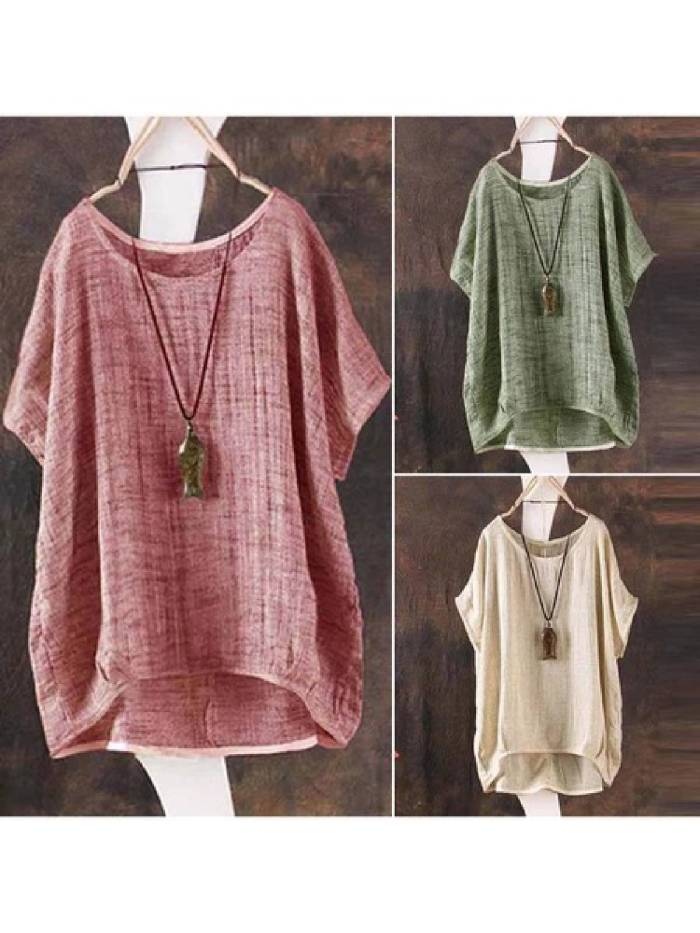 Short Sleeve Solid Plus Size Casual Blouse